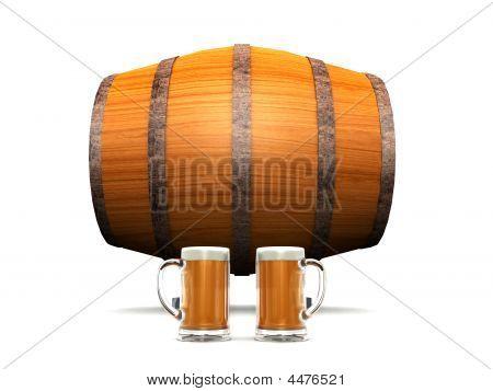 Beer Barrel And Glasses