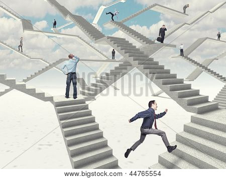 different people on 3d abstract stairs