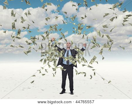 happy man and flying dollar