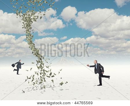 buasiness man run and 3d dollar twister background