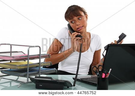 Apologetic secretary on the phone