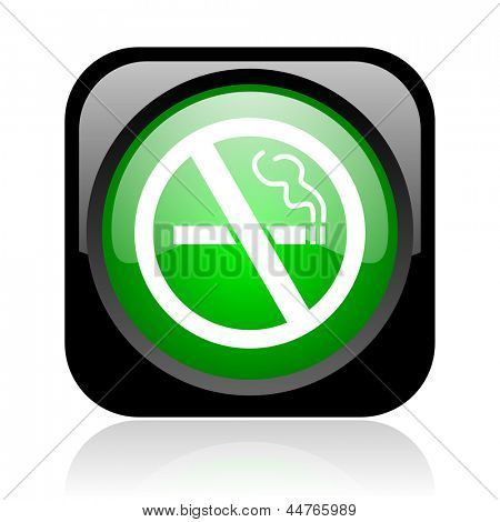 no smoking black and green square web glossy icon