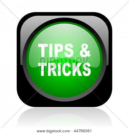 tips black and green square web glossy icon