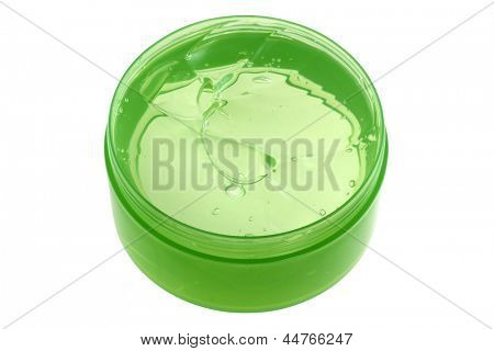 A Jar of Fresh Aloe Vera Gel : Natural Remedy for Sunburn Relief, isolated on white background