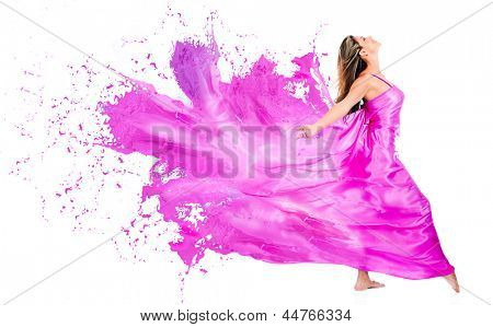 Happy woman in pink paint dress - isolated over white background