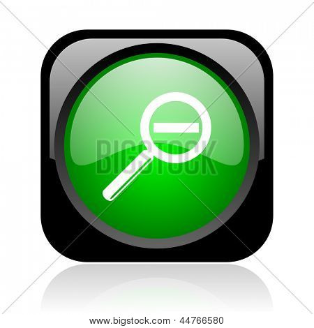 magnification black and green square web glossy icon
