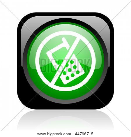 no phones black and green square web glossy icon