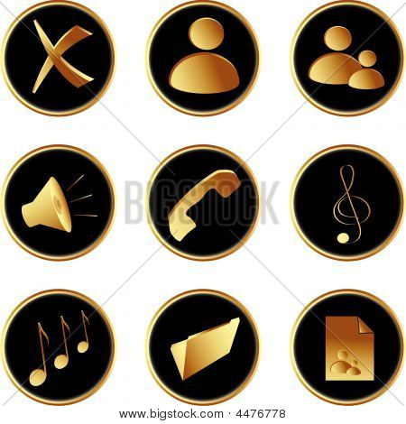 Golden Black Round Web Buttons