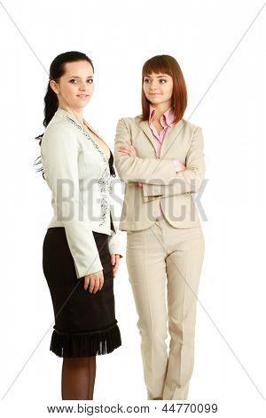 Two women standing, isolated on white background