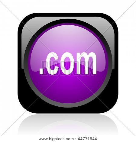 com black and violet square web glossy icon