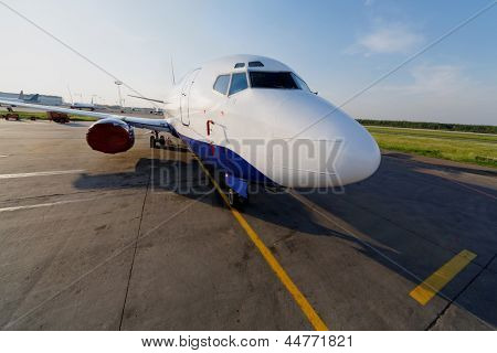 Small jetplane is on runway