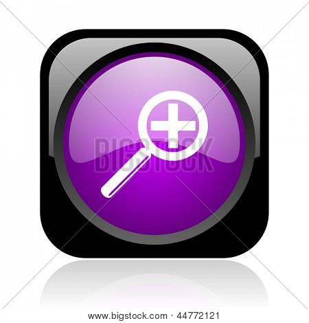 magnification black and violet square web glossy icon