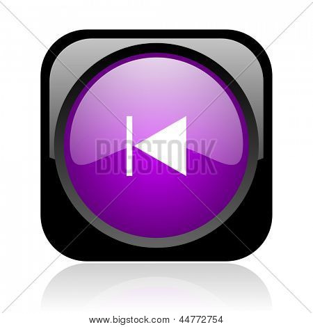 prev black and violet square web glossy icon