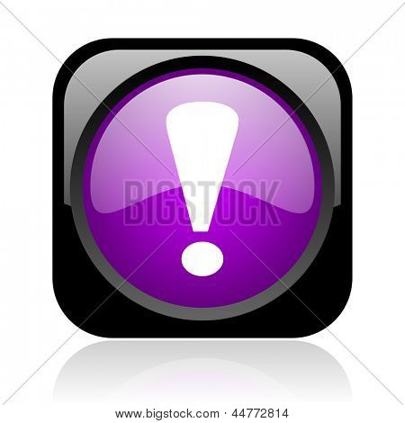 exclamation sign black and violet square web glossy icon
