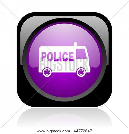police black and violet square web glossy icon