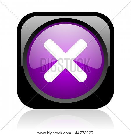 cancel black and violet square web glossy icon