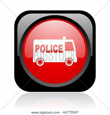 police black and red square web glossy icon