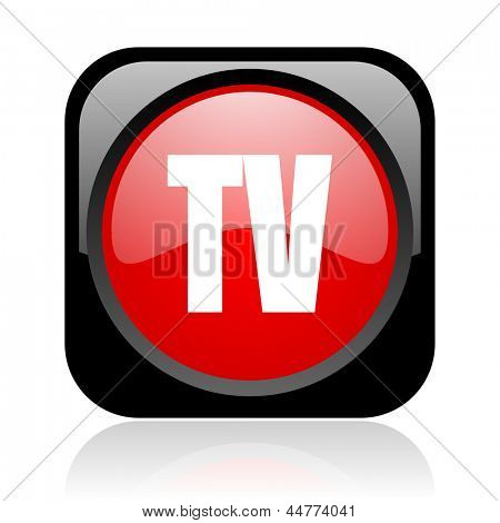 tv black and red square web glossy icon
