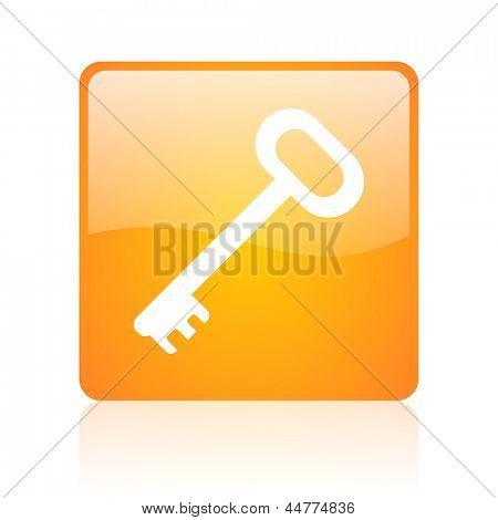 key orange square web glossy icon