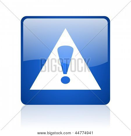 warning blue square web glossy icon