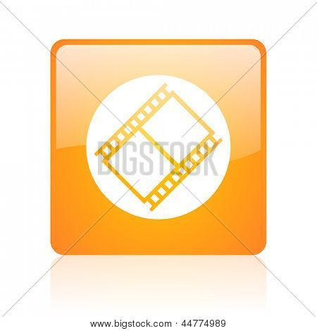 film orange square web glossy icon