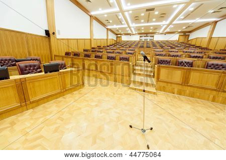 governmental conference room. Central area with microphone