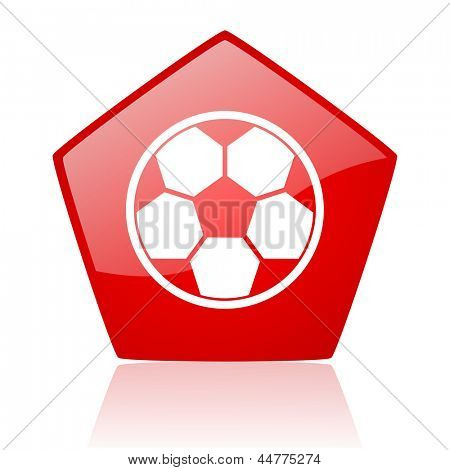 soccer red web glossy icon