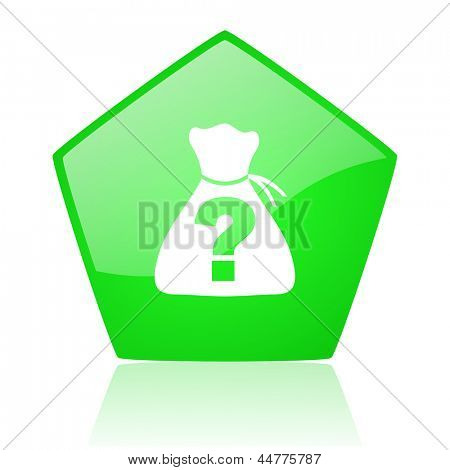 riddle green pentagon web glossy icon