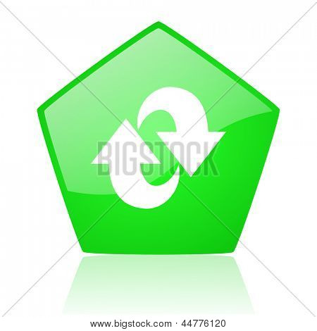 rotate green pentagon web glossy icon