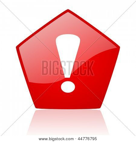 exclamation sign red web glossy icon