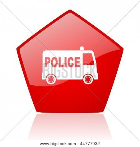 police red web glossy icon
