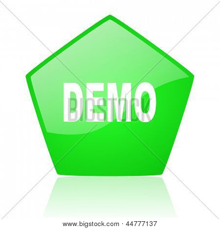 demo green pentagon web glossy icon