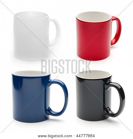 set of different mugs isolated on a white background