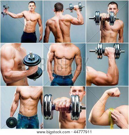 Set images of muscular man with dumbbells on a gray background