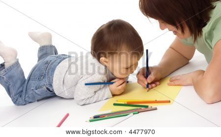 Mother Teach Her Child To Draw
