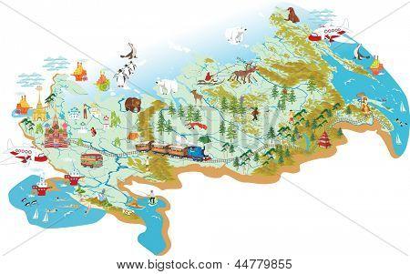 卡通矢量地图的俄罗斯与莫斯科-圣巴索大教堂