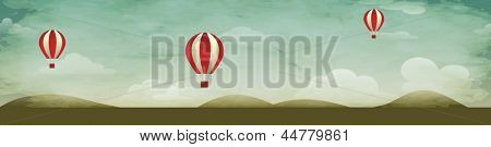 Air Background Header, with hot air balloons and rolling hills