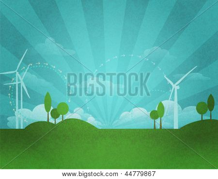 Renewable Energy Ecology Background, with wind turbines, clean air and green landscape