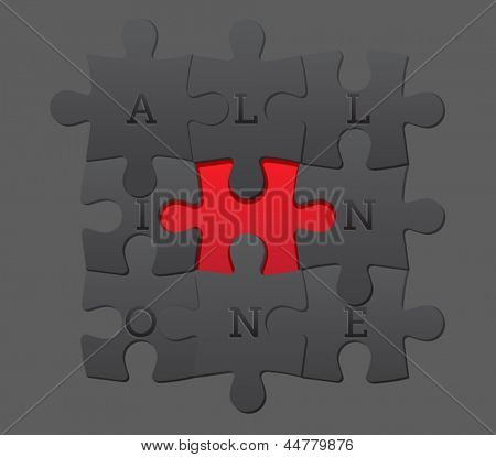 Jigsaw Puzzle Pieces in soft grays, outlining a bright red middle shape