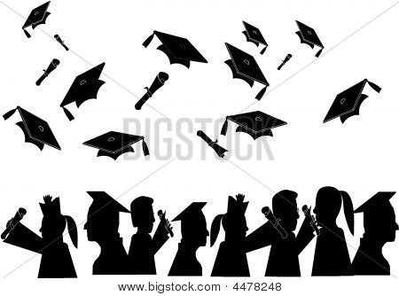 Silhouettes Of Graduates And Diplomas Being Tossed In Air..