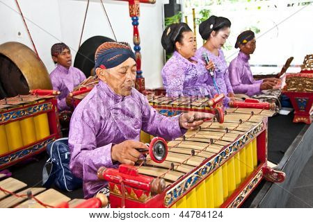 YOGYAKARTA, INDONESIA-JANUARY 1: Gamelan orchestra on January 1, 2012 in Ratu Boko palace ,Yogyakarta, Indonesia. There are two tuning systems in Javanese gamelan music, slendro and pelog .