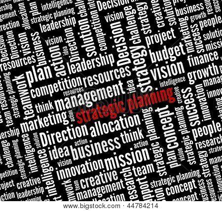 Planejamento estratégico em colagem de palavra