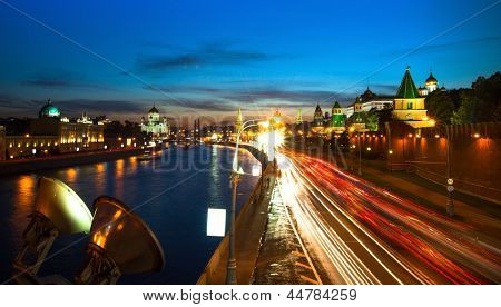 Panorama of the embankment of Moskva River near Kremlin in night time in Moscow.