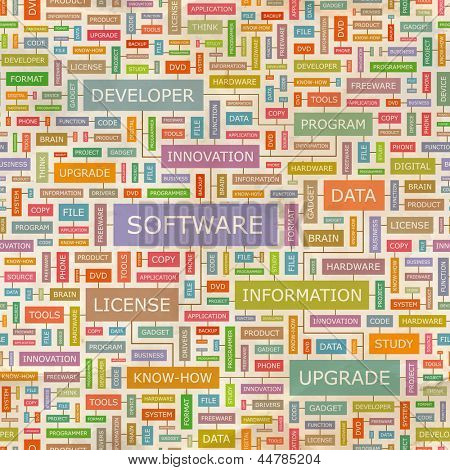 SOFTWARE. Word collage. Seamless illustration.