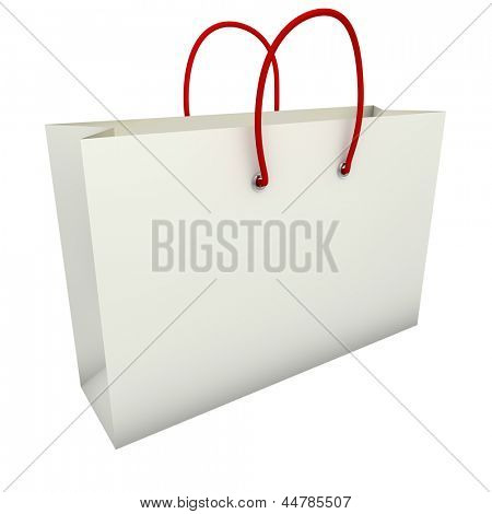Empty white shopping bag with red handles isolated on white background.