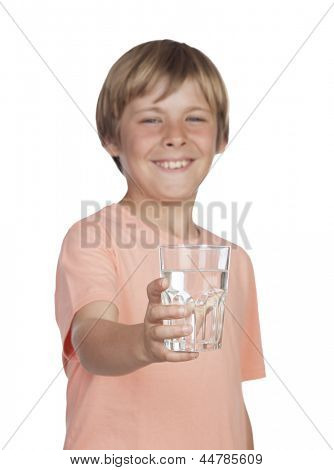 Thirsty adolescent with water for drink. Focus on the glass