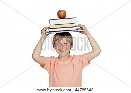 Smiling boy with books and a apple oh his head isolated on white background