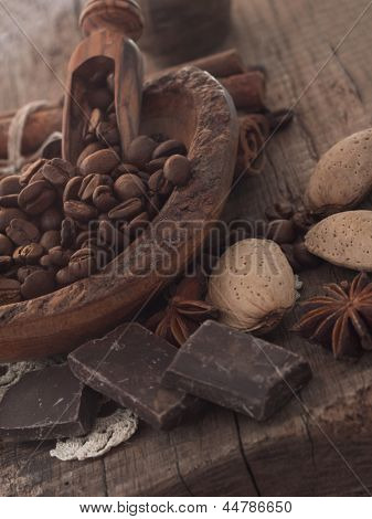 coffee beans with almond and chocolate