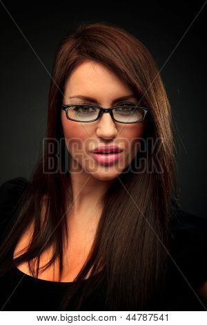 Portrait of beautiful business woman wearing glasses