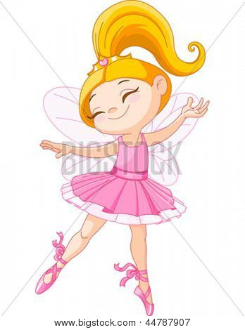 Illustration of a happy little fairy ballerina